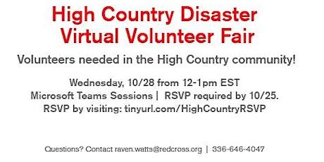 High-Country Disaster Virtual Volunteer Fair- 10/28/20 (Alexander County) tickets