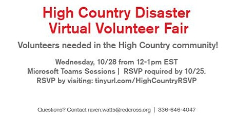 High-Country Disaster Virtual Volunteer Fair- 10/28/20 (Alleghany County) tickets
