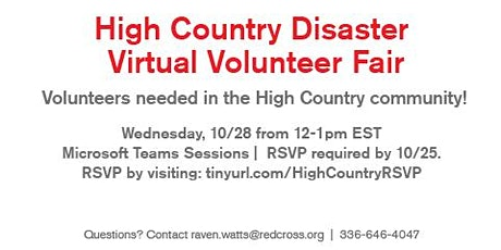 High-Country Disaster Virtual Volunteer Fair- 10/28/20 (Wilkes County) tickets