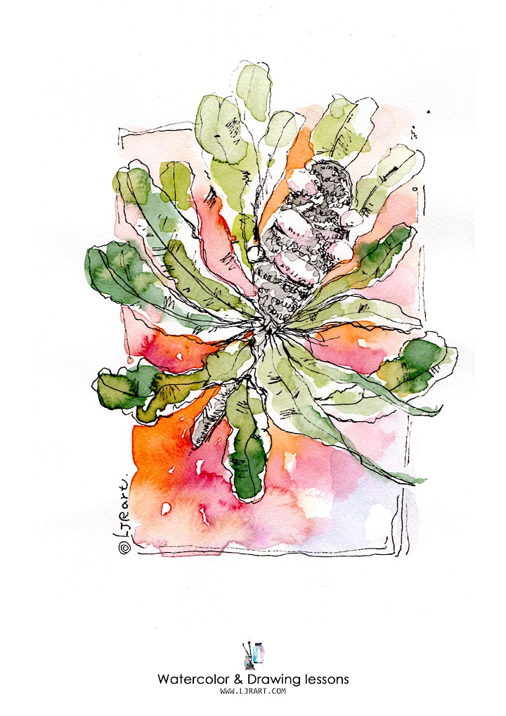 Watercolor & Drawing live Online classes image