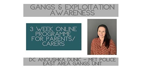 Gangs & Exploitation Awareness for Parents/Carers- 3 week online course tickets