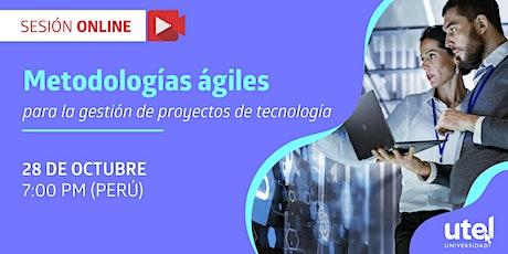 Sesión online: Metodologías ágiles para gestión de proyectos de tecnología boletos