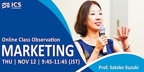 Hitotsubashi MBA Class Observation | Marketing tickets