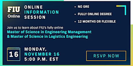 FIU Online Engineering Management + Logistics Engineering Info Session tickets