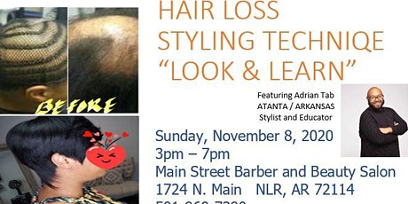 """Hair Loss/Alopecia Styling Technique """"Look & Learn"""" featuring Adrian Tabb tickets"""