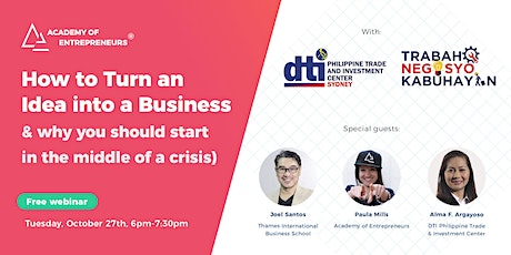 How to Turn an Idea into a Business (& why you should start now) tickets
