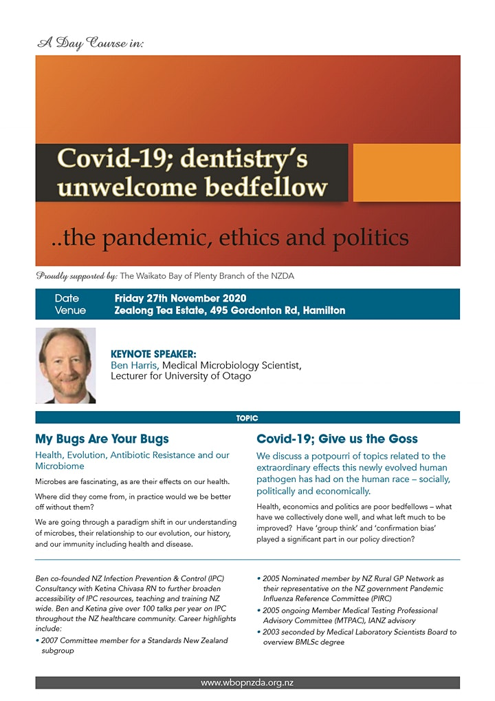 WBOP NZDA 2020 Day Course - Covid-19; dentistry's unwelcome bedfellow image