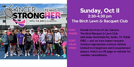 Cancer StrongHER Tennis - Free October 25, 2020 Class tickets