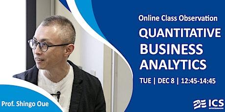 Hitotsubashi MBA Class Observation   Quantitative Business Analytics tickets