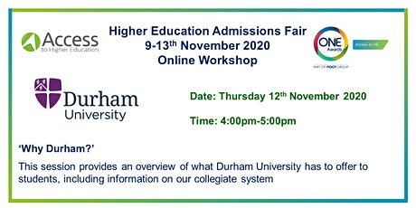 One Awards HE Admissions Fair - Presentation and Q&A by Durham University tickets
