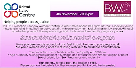 FREE LEGAL RIGHTS WORKSHOP FOR WOMEN hosted by Bristol Law Centre tickets