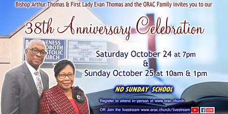 ORAC's 38th Anniversary Celebration - Sunday tickets