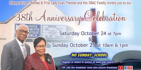 ORAC's 38th Anniversary Celebration - Saturday tickets
