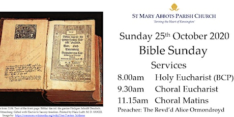 Sunday Services at St Mary Abbots on 25th October 2020 tickets