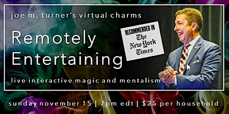 Virtual Magic Show w/ Magician Joe Turner Recommended by The New York Times tickets