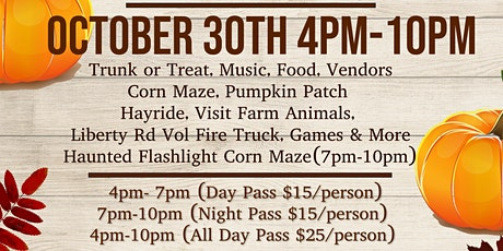 Trunk or Treat /Flashlight Corn Maze with Phil More Fit tickets