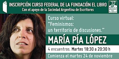 """Curso virtual: """"Feminismos: un territorio de discusiones"""", por M. Pía López boletos"""