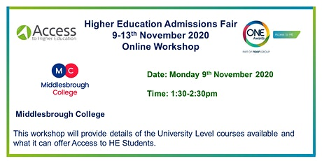 HE Admissions Fair - Presentation, Q&A by Middlesbrough College tickets