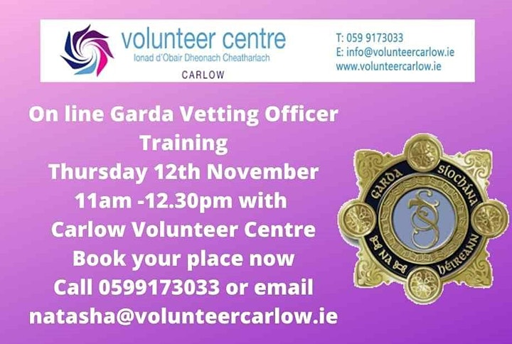 Garda Vetting Training -Wednesday March 3rd 2021 image
