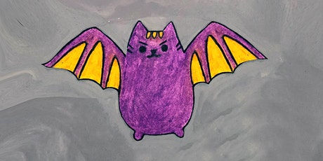 Donation! 30min Draw a Halloween Vampire Pusheen Art Lesson @1PM (Ages 4+) tickets