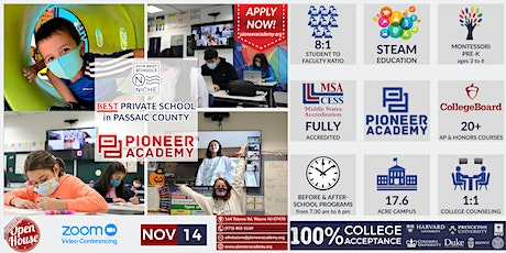 Pioneer Academy Virtual Open House PK-12 Open House - 11/14 - ZOOM ONLINE tickets