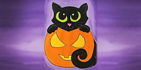 30min Halloween Art Lesson - Black Cat In A Pumpkin @2PM (Ages 5+) tickets