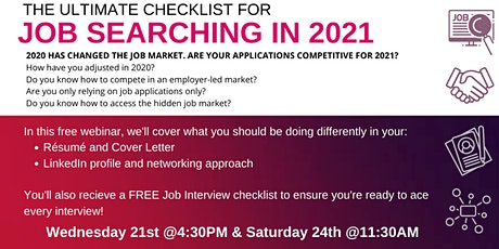 The Ultimate Checklist For Job Searching In 2020 - Saturday 24th @11:30AM tickets