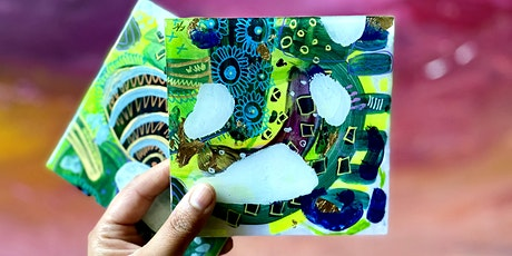Whimsical Abstract Tiles - Resin Coated Plywood - Paint Class tickets