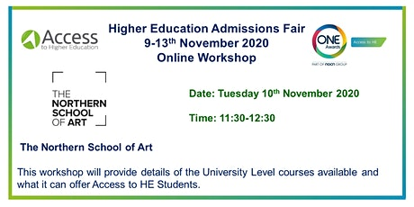 HE Admissions Fair - Presentation, Q&A by The Northern School of Art tickets