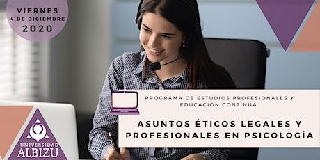 Asuntos Éticos Legales y Profesionales en Psicología entradas