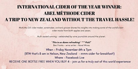 MEET THE MAKER - A LIVE STREAM EVENT FROM ABEL CIDER, NEW ZEALAND tickets