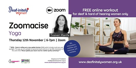 Deaf-initely Women: Zoomacise - Yoga with Kavita tickets