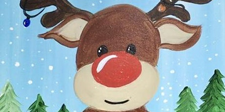 Virtual Paint and Learn Painting On Canvas Art Class  -  Rudolph Reindeer tickets