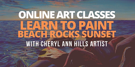 Learn to Paint Beach Rocks Sunset tickets
