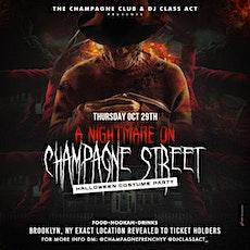"""NIGHTMARE ON CHAMPAGNE STREET"" HALLOWEEN PARTY @ SECRET BROOKLYN LOCATION tickets"