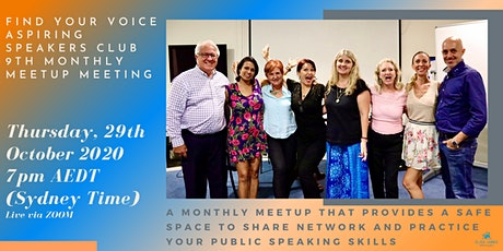 FIND YOUR VOICE - Aspiring Speakers CLUB  9th Monthly Meetup tickets