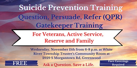 Suicide Prevention Training (QPR) for VETERANS and MILITARY Members tickets