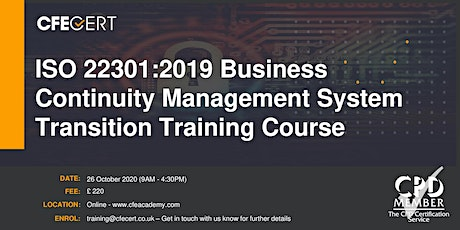 ISO 22301:2019 Business Continuity Management System Transition Training tickets