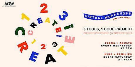 Virtual Workshops: 1,2,3, CREATE! tickets