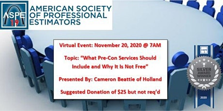 Virtual Event - What Pre-Con Services Should Include & Why It Is Not Free tickets