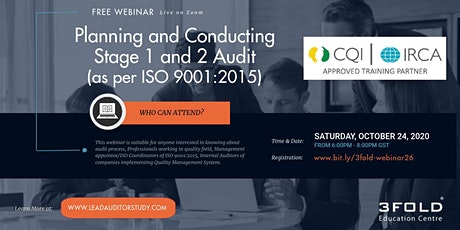 Free Webinar: Planning and Conducting Stage 1 and 2 Audit (ISO 9001:2015) tickets