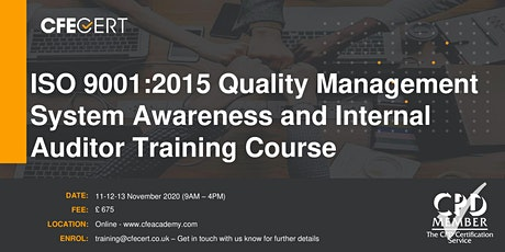 ISO 9001:2015 QMS Awareness and Internal Auditor Training Course tickets