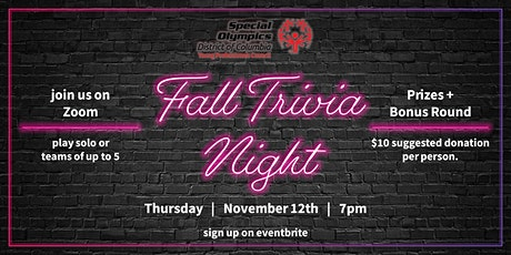 Special Olympics DC Young Professionals Council Virtual Trivia Night! tickets