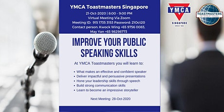 Improve your public speaking skills - Online meeting with YMCA Toastmasters tickets