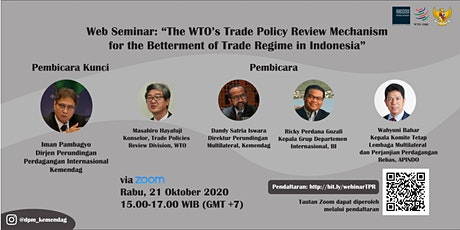 The WTO's TPRM for the Betterment of Trade Regime in Indonesia tickets