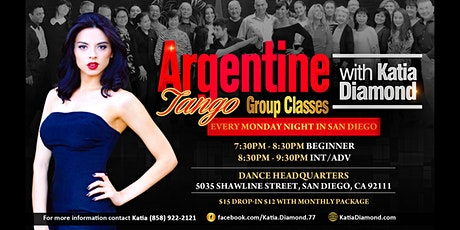 Argentine Tango Group Classes Every Monday with Katia Diamond in San Diego! tickets