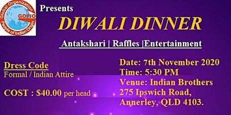 GOPIO Queensland Diwali Dinner 2020 tickets