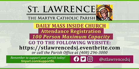 INDOORS: TUESDAY, October 27, 2020 @ 8:30 AM DAILY Mass Registration