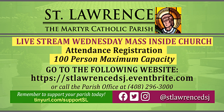 INDOORS: WEDNESDAY, October 28 @ 8:30 AM DAILY Mass Registration tickets
