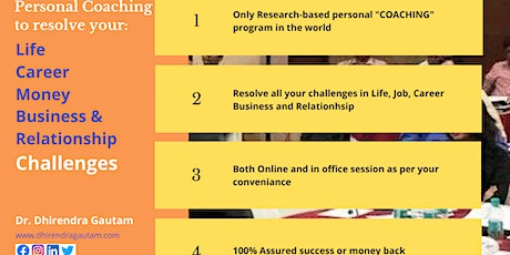 Personal Life, Business, Career and Relationship Coaching  tickets